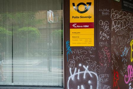 Ljubljana, Slovenia. August 3, 2019. An external view of a Slovenian post office Editorial