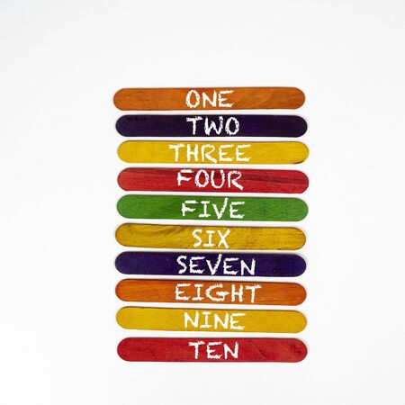 the numeration from one to ten on coloured wooden slats Stok Fotoğraf