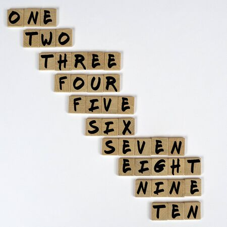 the numeration from one to ten on  wooden tiles Stok Fotoğraf