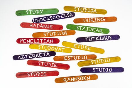 the concept of the word study in various languages on wooden coloured slats