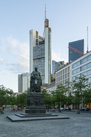 Frankfurt am Main, July 2019.  view of the monument and the statue of Goethe in the square of the same name