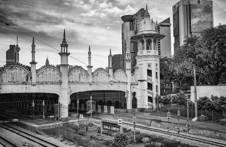 Kuala Lumpur, Malaysia. January 2019.  A view of the old colonial style  railway station building