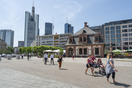 Frankfurt am Main, July 2019.   A view of the people walking in  Hauptwache square