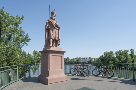 Frankfurt, Germany. July 2019.   the statue of Charlemagne on the bridge over the river Main Editorial
