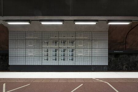 Stockholm, Sweden. September 2019. A view of the decorations of Sundbybergs Centrum Metro Station platforms