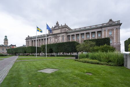 Stockholm, Sweden. September 2019.  Panoramic view of the Swedish parliament building