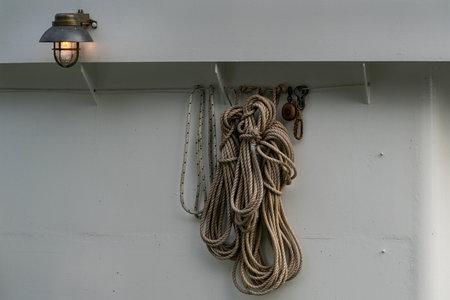 Stockholm, Sweden. September 2019.  Some marine ropes hung on a boat