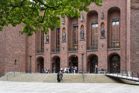 Stockholm, Sweden. September 2019. View of inner courtyard of city hall palace