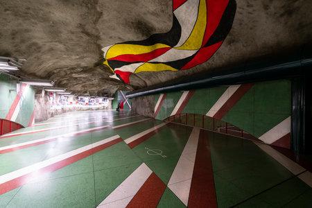 Stockholm, Sweden. September 2019. the interior view of  Kungstradgarden Metro Station Sajtókép