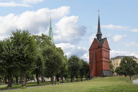 Stockholm, Sweden. September 2019. A view of Johns wooden Bell Tower in the parl Sajtókép