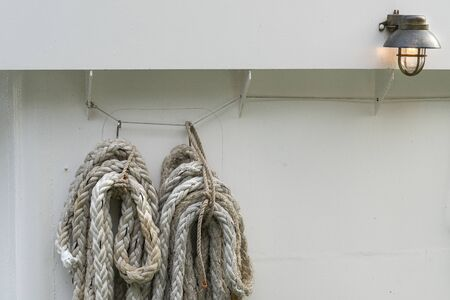 Stockholm, Sweden. September 2019.  the anchor rope of a boat at the dock