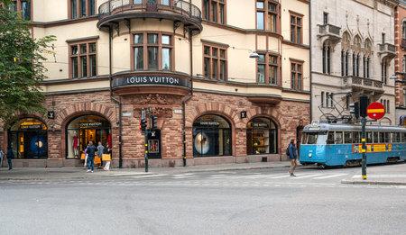 Stockholm, Sweden. September 2019.  the windows on a city center street of luxury brand stores Sajtókép