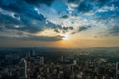 Kuala Lumpur, Malaysia. January 2019.   a panoramic view of the city at sunset