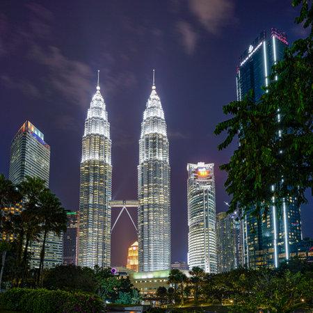 Kuala Lumpur, Malaysia. January 2019.   A night view of Petronas towers illuminated