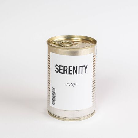 a jar containing Serenity concept soup c on a white surface