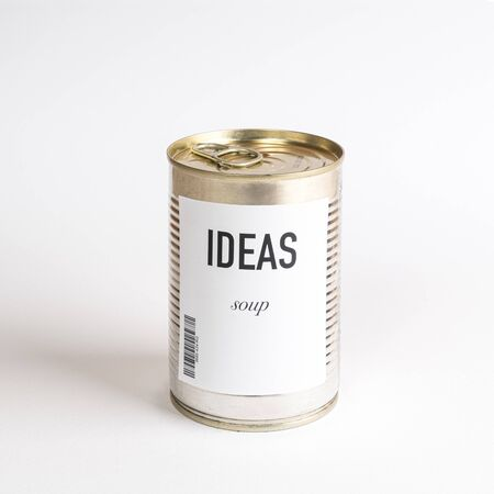 a jar containing idreas concept soup on a white surface