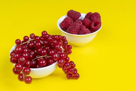 two white bowls with some black currant and raspberry fruits on a surface