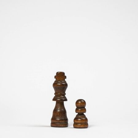 the pawn of wood of the king and the pawn of the game of chess 写真素材