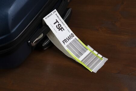 a baggage tag embarked on a plane of the Ryanair airline Editorial