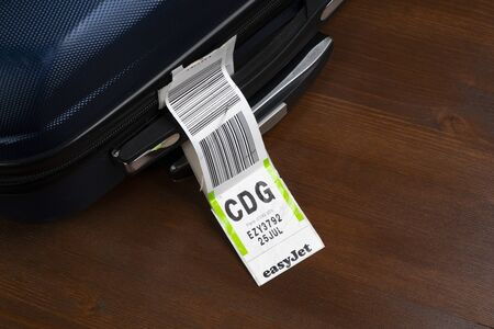 a baggage tag embarked on a plane of the Easyjet  airline