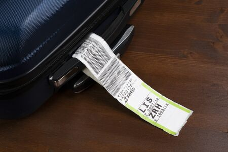 a baggage tag embarked on a plane of the Swiss airline