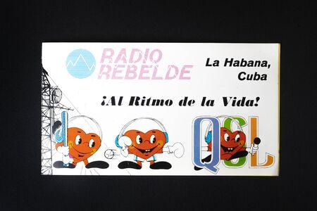 An old QSL card of Radio Rebelde in Cuba