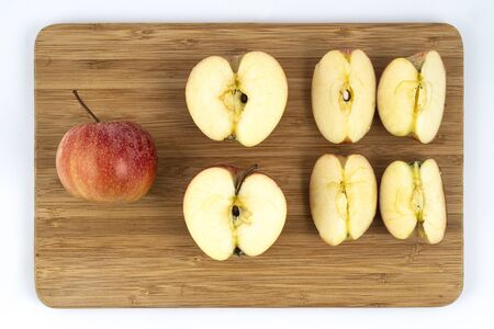 cutting an apple in sequence