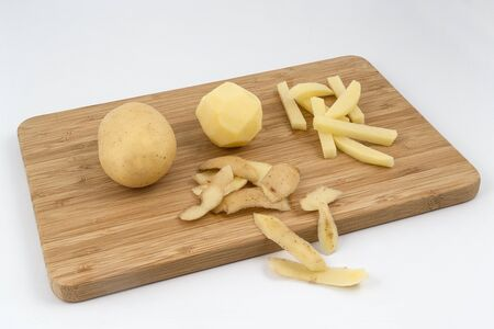 Peeled potatoes in sequence