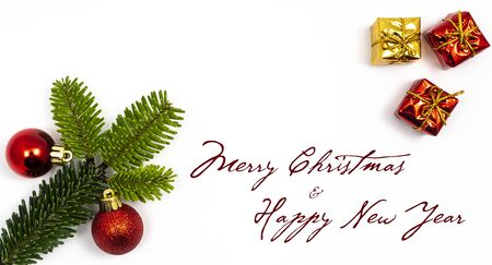 A composition with the message  Merry Christmas and happy New Year on a white background