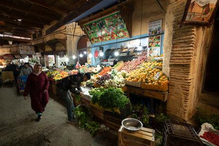 Fez, Morocco. November 9, 2019. Fruit vendors in the Medina