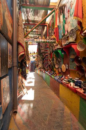 Fez, Morocco. November 9, 2019.  stalls of artisan pottery vendors in the medina