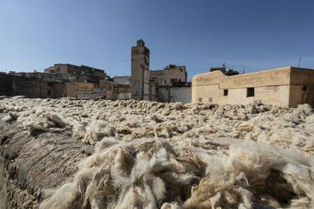 Fez, Morocco. November 9, 2019. a laboratory for washing and drying and dyeing wool Editorial