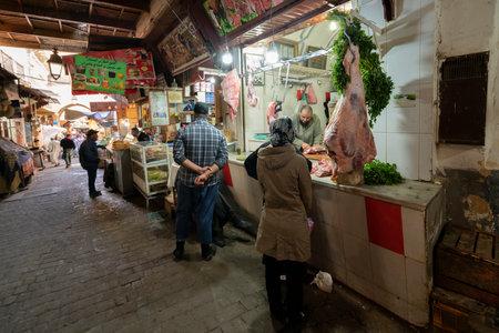 Fez, Morocco. November 9, 2019.  stalls of meat vendors in the medina Editöryel