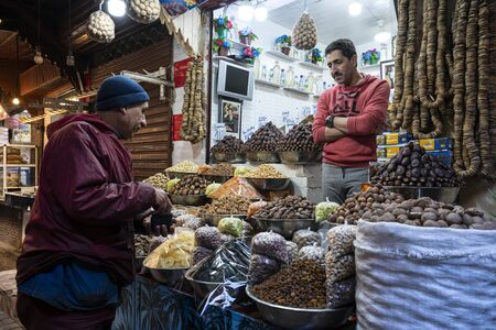 Fez, Morocco. November 9, 2019. The spice vendor in the medina Editöryel