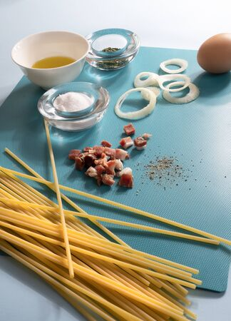 ingredients for the preparation of spaghetti carbonara
