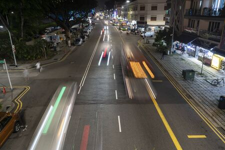 Singapore.  January 2020.  traffic on a street in the Kallang district at night