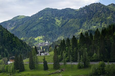 a panoramic view of the Sauris valley, Italy Stok Fotoğraf