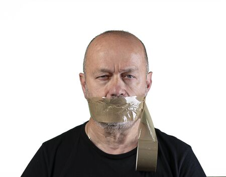 a man with his mouth covered with tape