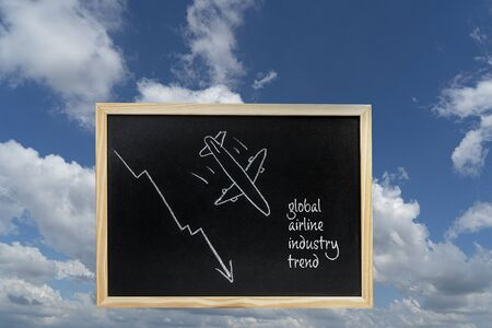a blackboard with the Global Airline industry trend drawn