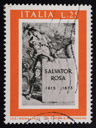 Udine, Italy. December 10, 2020. the commemoration of Salvador Rosa on an Italian postage stamp