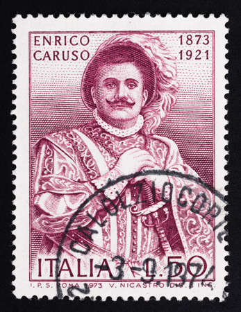 Udine, Italy. December 10, 2020. the commemoration of Enrico Caruso on an Italian postage stamp