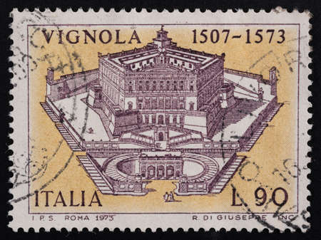 Udine, Italy. December 10, 2020. the commemoration of Jacopo Barozzi da Vignola on an Italian postage stamp Editorial