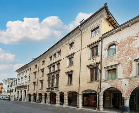 Udine, Italy. February 2 2021. the facade of the Strassoldo palace, built in 1574, now the headquarters of the Unicredit Bank, in the historic center of Udine