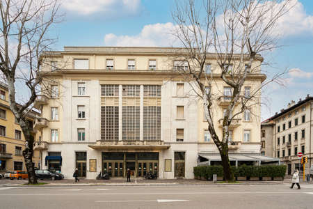 Udine, Italy. February 2 2021. the seat of the former Odeon cinema in the building designed by the architect Ettore Gilberti in 1935