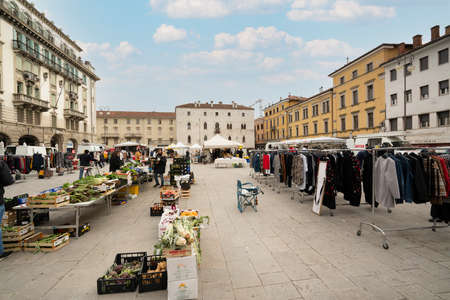 Udine, Italy. February 2 2021. the open-air market in piazza 20 settembre in the historic center of Udine