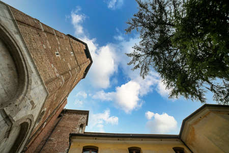 Udine, Italy. February 2 2021. bottom view of the bell tower of the Udine Cathedral Editorial