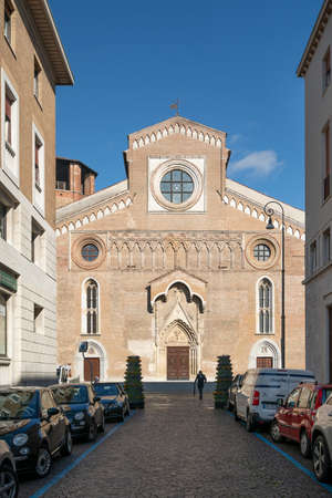 Udine, Italy. February 11, 2020. the cathedral of St. Mary Annunziata in the city center Standard-Bild - 163757394