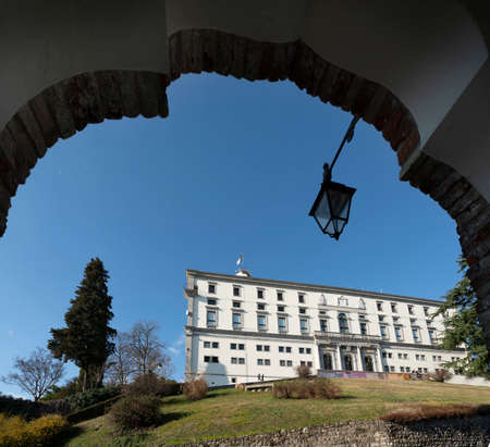 Udine, Italy. February 11, 2020. view of the castle building on the homonymous hill in the city center Editorial