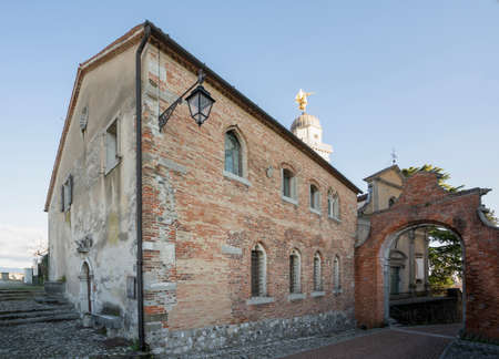 Udine, Italy. February 11, 2020. external view of the casa della confraternita (the house of Confraternity) on the castle hill Editorial