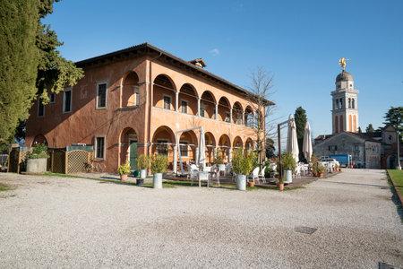 Udine, Italy. February 11, 2020. La Casa della Contadinanza (the house of peasant) on the castle hill in the city center Editorial